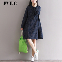 JYRO Brand Mori Women 's New Dresses Grinding Wool Cotton Long Loose Large Size Knee Length Art Restores Ancient Ways Dress