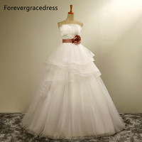 Forevergracedress A Line Long Wedding Dress New White Strapless Sashes With Lace Up Back Bridal Gown