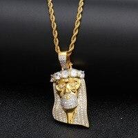 UWIN Jesus Pendant Tongue Copper Plus AAA Cubic Zirconia Gold Palted Trendy Rock Punk Hip Hop Necklace Men Jewelry
