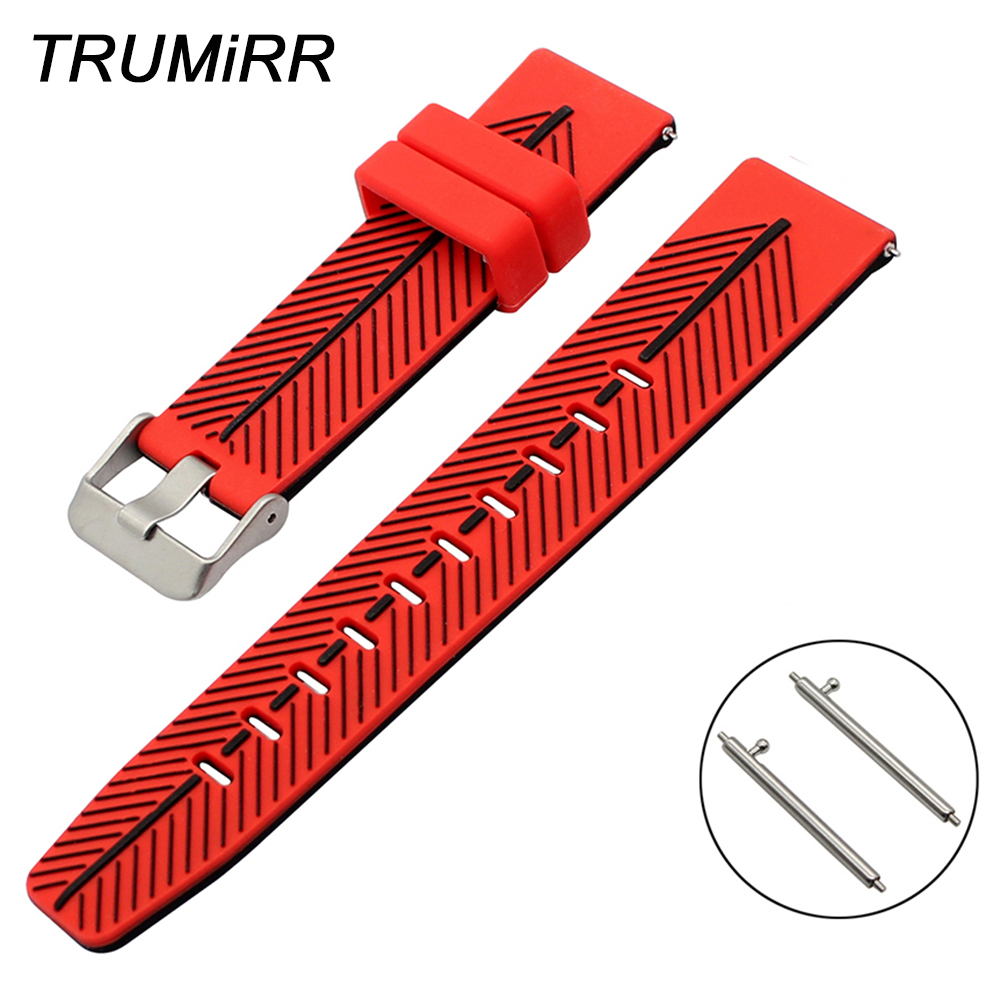 21mm 22mm Double Color Silicone Watchband Quick Release Universal Watch Band Rubber Strap Steel Buckle Wrist Bracelet Black Red silicone rubber watch band 21mm 22mm for timex weekender expedition quick release strap stainless steel buckle wrist bracelet