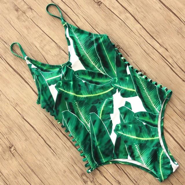 Sexy One Piece Swimsuit Women Swimwear Green Leaf Bodysuit Bandage Cut Out Summer Beach Bathing Suit Swim Monokini Swimsuit