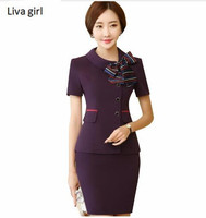 Summer Fashion Uniforms Formal Women Skirt Suits OL Business Elegant Office Ladies Plus Size Short Sleeve
