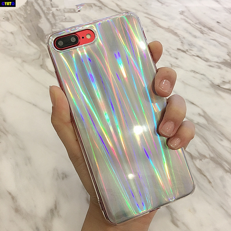 Cyato Luxury Glitter Phone Cases For iPhone 8 X Cool Laser Shining Case For iphone 7 6 6S Plus 5 5S SE Soft TPU Silicone Cover in Fitted Cases from Cellphones Telecommunications