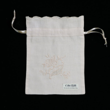 B003 : 12 pieces Beige Ecru ramie/cotton drawstring hand embroidery gift bags, 6×8 inches sachet bags, travel pouch, linen bag