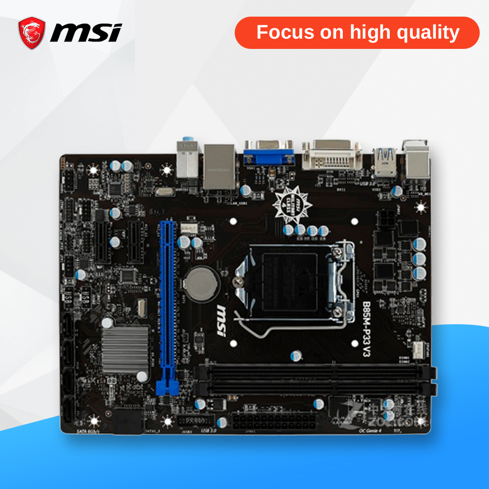 MSI B85M-P33 V3 Original Used Desktop Motherboard B85 Socket LGA 1150 i3 i5 i7 DDR3 16G SATA3 USB3.0 Micro-ATX itv50738x original main juc7 820 00031810 v3 s50h yb06 used disassemble