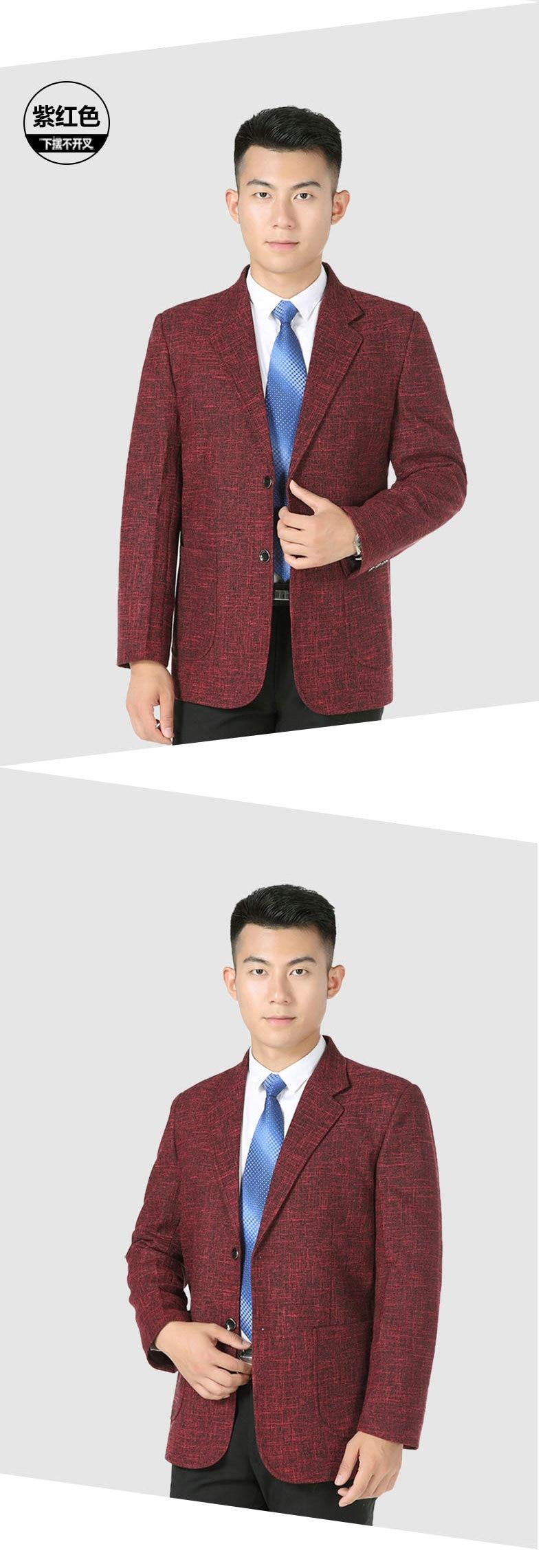 WAEOLSA Men Elegance Blazers Gray Red Khaki Suit Jackets Man Notched Collar Outfits Business Casual Blazer Male Office Suit Jacket Plus Size Wear (7)
