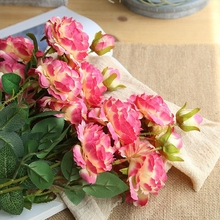 10 Pcs Fake Silk Western Rose for Wedding Party Artificial Bridal Bouquet Style Home Decoration Simulation Ros