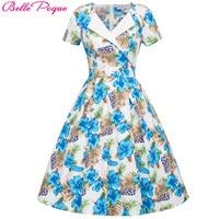 Belle Poque Vintage Elbise Kadınlar Çiçek Yazdır Casual Tunik Bir çizgi Elbise Ofis Parti İnce Wiggle Pinup Çalışma Giyin elbiseler