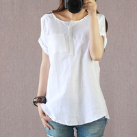 T Shirt Women Summer Casual Linen Cotton Short Sleeve Vintage Solid Color Loose Tops Tees O