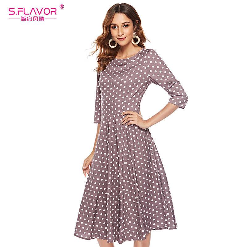 S. saveur femmes automne Vintage Dot impression robe élégante o-cou 3/4 manches a-ligne robe liquidation vente femmes robe d'été
