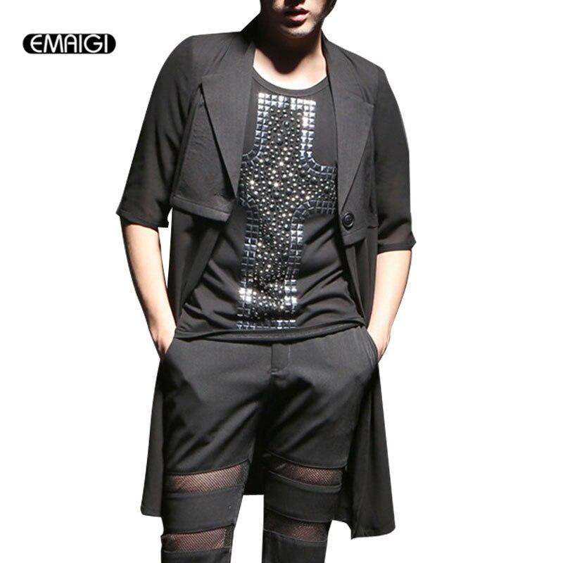 Summer New Chiffon Splice Men's Long Cardigan   Trench   Coat Men Slim Half Sleeve Fashion Casual   Trench   Jacket