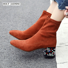 Womens Boots  Fashion Shoes 2019 Spring/Autumn  New Women Shoes Ankle Boots for Women  Square Heel  Slip-On  Square Toe Shoes new arrival fashion ankle pointed toe square heel boot for woman in spring and autumn big size 35 42