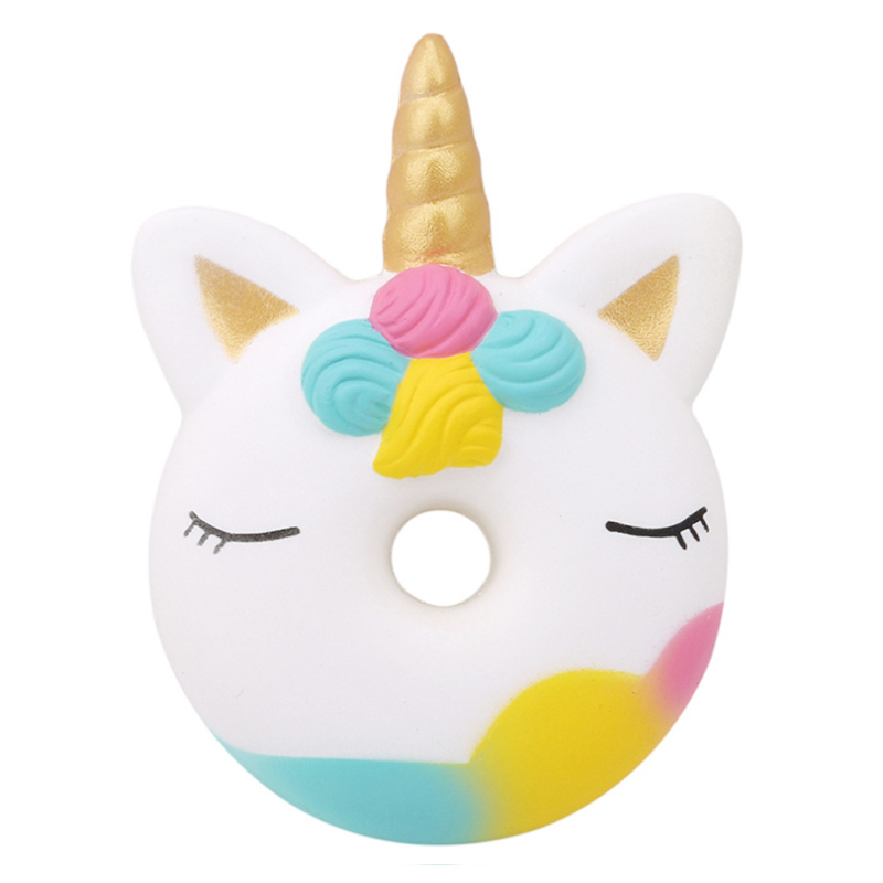 New Kawaii Unicorn Doughnut Squishy Creative Slow Rising Simulation Bread Scented Squeeze Toy Stress Relief For Kid Xmas Gift