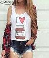 YEMUSEED I Love Nutella BFF Crop Tops Cartoon Harajuku Tops Kwaii Blusas Tumblr Femme XL WCT25