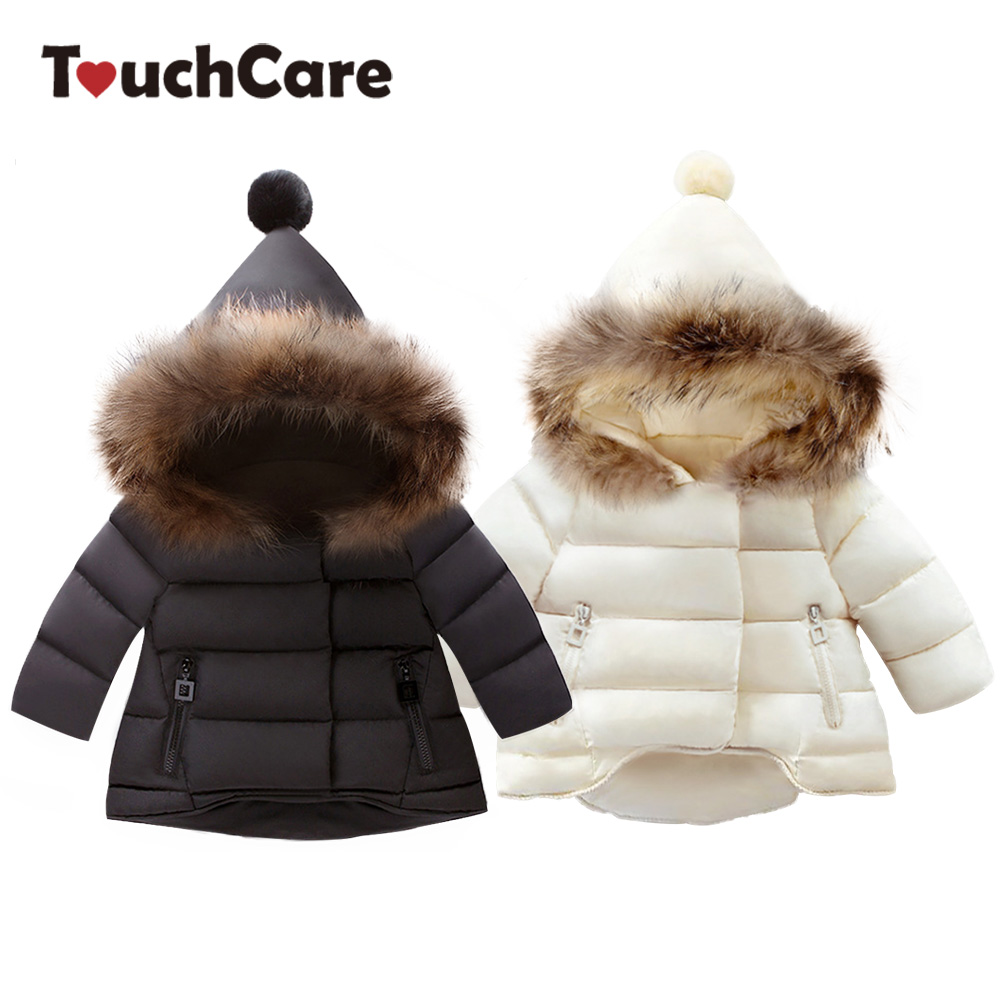 TouchCare Thicken Fur Hooded Children Snow Outerwear Down Parkas Kids Winter Warm Solid Coats Boy Girl Jacket Baby Clothing 2018 girls clothing warm down jacket for girl clothes 2018 winter thicken parka real fur hooded children outerwear snow coats