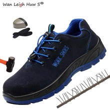 Plus Size Mens Breathable Mesh Puncture Proof Protetive Safety Shoes Men New Outdoor Anti-slip Steel Toe Cap Work Boots