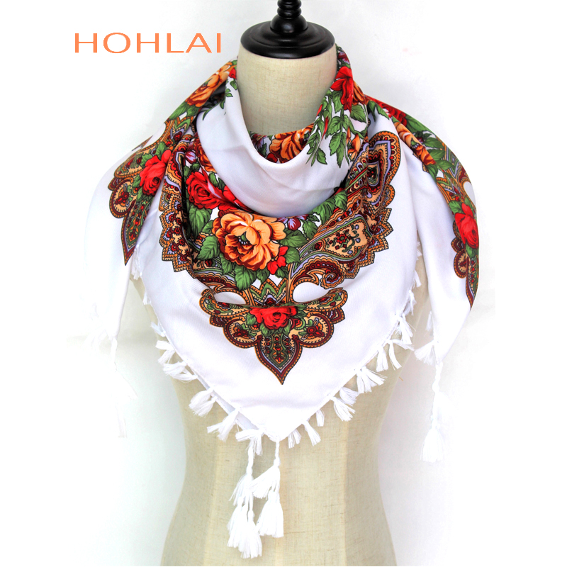 New Hot Sell Russia Wquare  Fashion Decorative Scarf Handmade Tassel Flower Design Scarves Blanket Shawl Handkerchief For Women