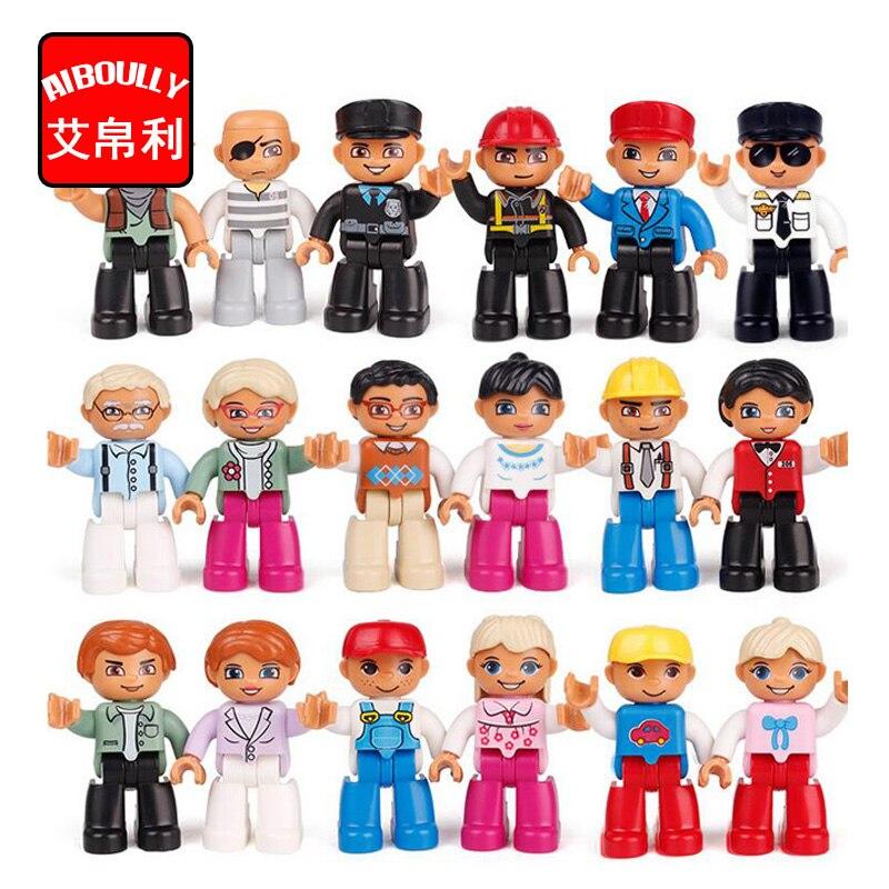 Pcs Tamanho Grande Blocos de Construção Compatíveis Com duploe 10 Trabalhador Familiar Polícia Figura Brinquedos Para As Crianças Do Presente Do Natal