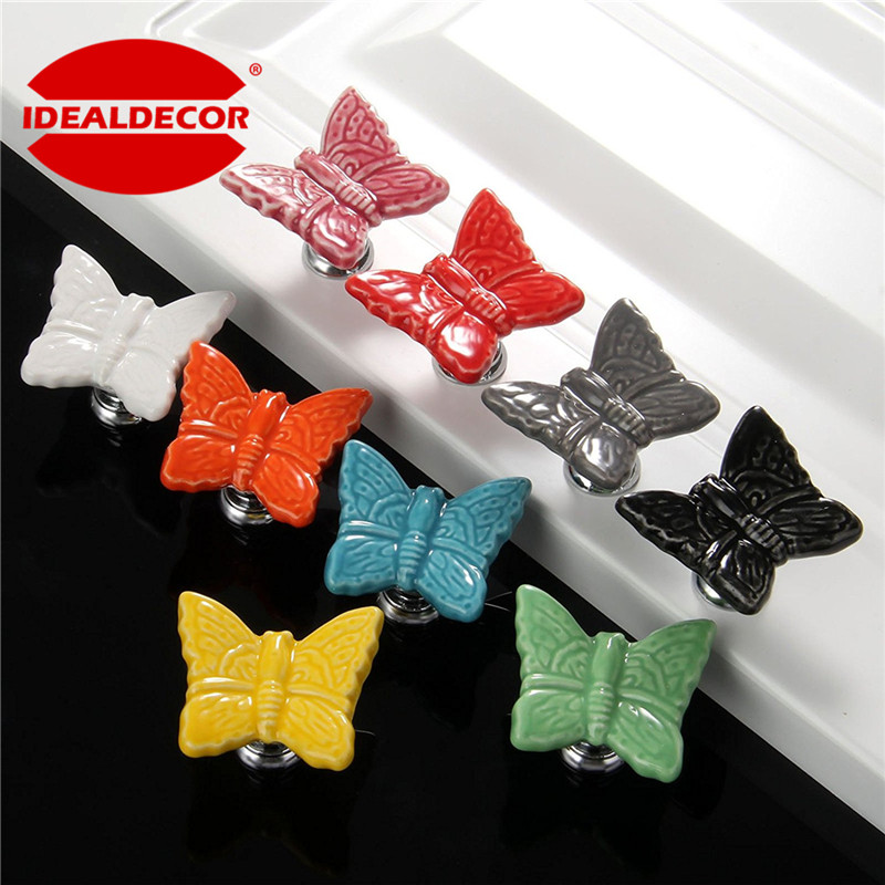 10pcs Vintage Butterfly Cabinet Knobs And Handles Furniture Handle