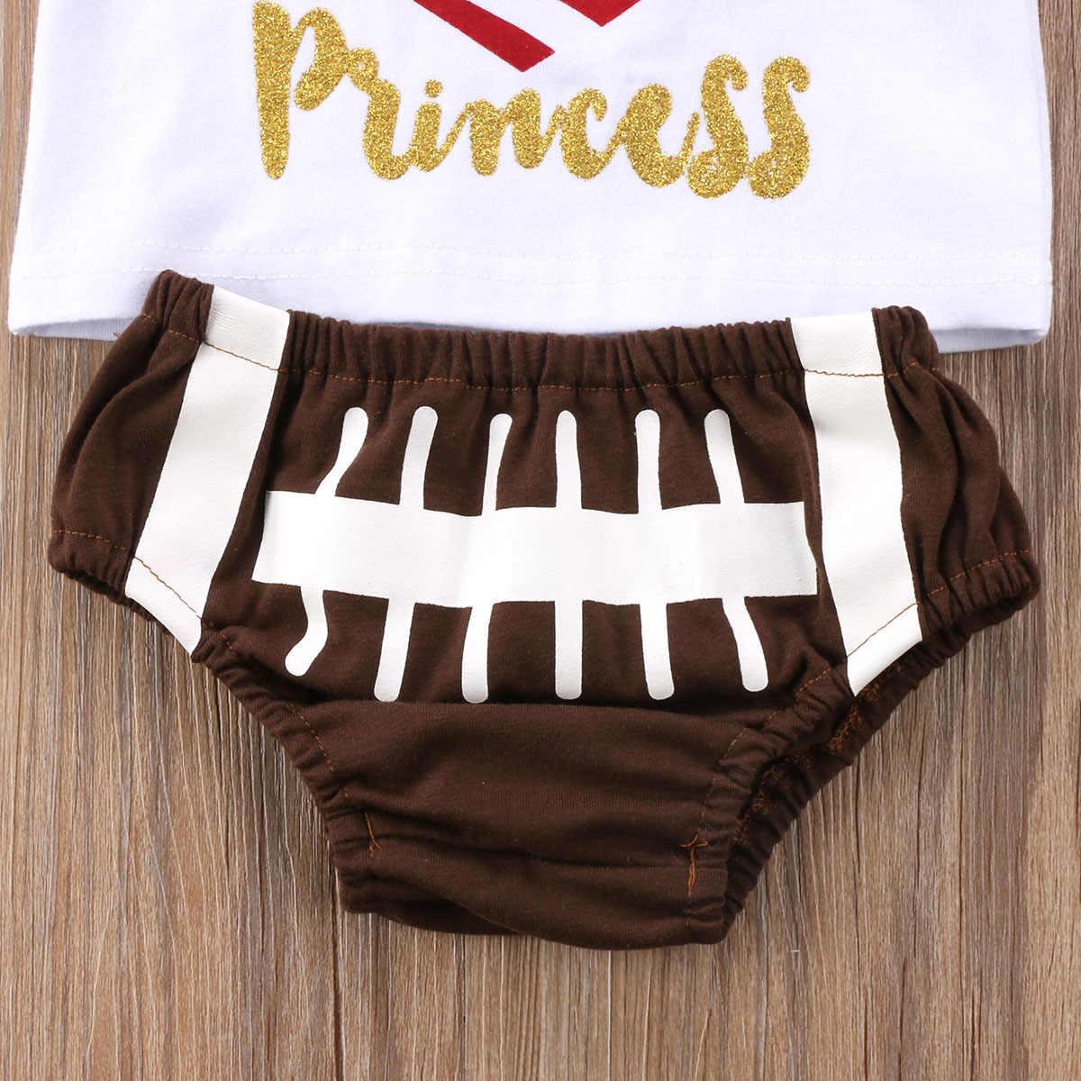 3ピース新生児幼児女の赤ちゃん服セットパパの王女衣装ラグビートップスtシャツパンツ衣装セット服3ピース