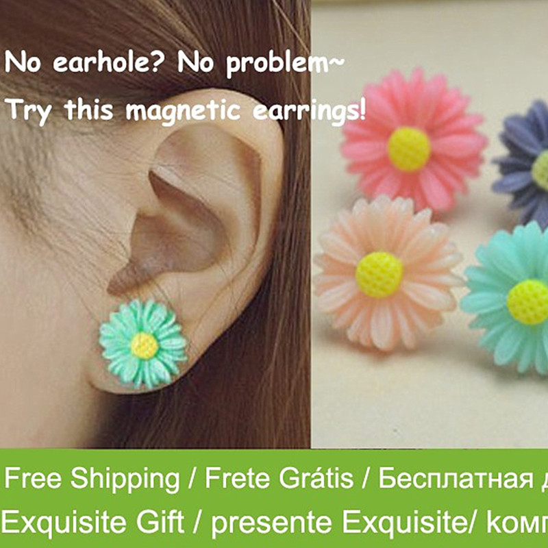 New Fashion Summer Style Magnetic Resin Flower Earring For Women Beautiful  Flower Earrings Allergy Free Earrings 070976a1fd97