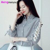 Autumn Women Blouse Lace Hollow Out Pearl Button Petal Long Sleeve Shirts Elegant Tops Plus Size