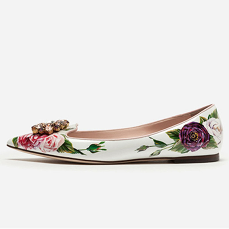 2019 Spring White Pink Gemstone Dress Shoes Woman Floral Printing Leather Pumps Pointed Toe Crystal Low