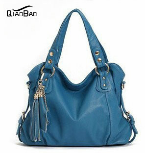 QIAO BAO 2017 New Geniune Leather Handbag Fashion Tassel Shoulder Tote Handbags of Famous Women Sheepskin Bag