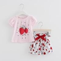 Groothandel 5 stks/partij Zomer pasgeboren baby kleding sets aardbeien print kids t-shirt + boog broek baby meisjes kleding 2 stks/set 0-2 T