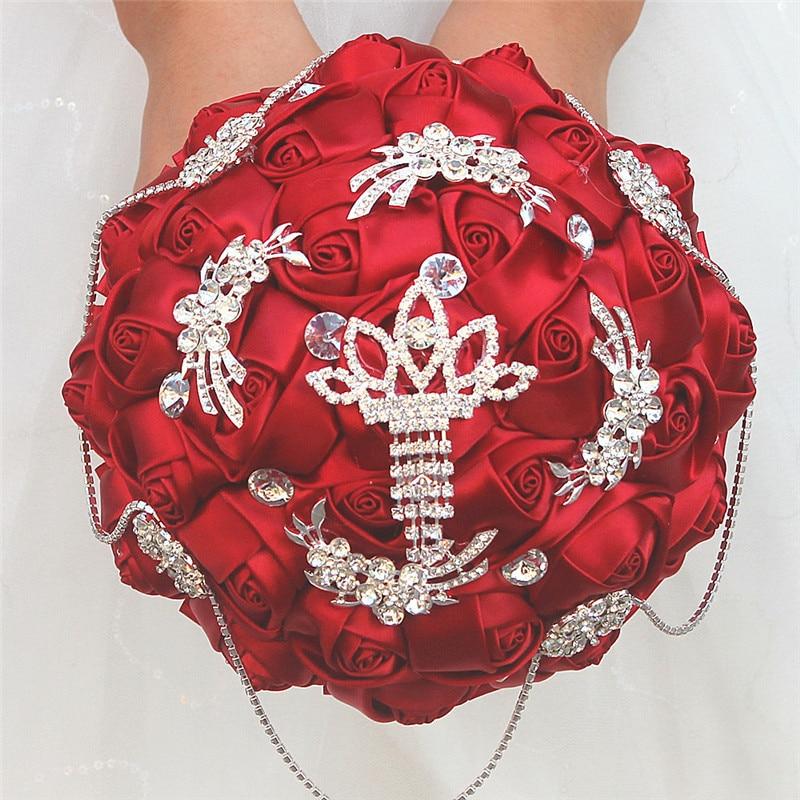 Wine red wedding bride bouquet rhinestone pearl decoration bride wedding bouquet handmade custom ribbon Holding flowers