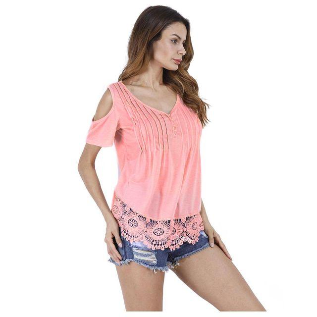 8e7e24e960bf5 TKOH Women Decorative Lace Plain Short Sleeve T-Shirt Open Shoulder V Neck  Solid Summer Regular Women Solid Shirts