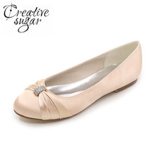 Creativesugar Elegant lady wedding party dress flats berlian imitasi simpul bros slip pada pengantin satin sepatu gading ungu perak(China)