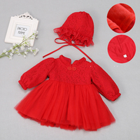Baby Dress Winter Thickened Warm Clothes Wedding Party Gown Infant Dresses Newborn 1 Year Birthday Gift Red Dress Baby Clothes