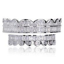جديد الرغيف الفرنسي مجموعة الأسنان Grillz أعلى وأسفل فضي اللون Grills الأسنان الفم الهيب هوب موضة مجوهرات مغني الراب مجوهرات هدية