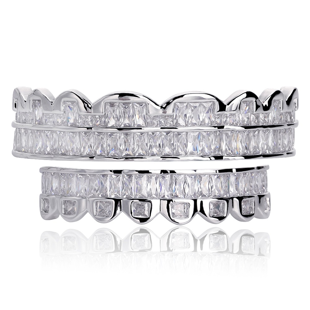 New Baguette Set Teeth Grillz Top & Bottom Silver Color Grills Dental Mouth Hip Hop Fashion Jewelry Rapper Jewelry GiftBody Jewelry   -