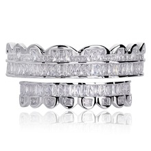 New Baguette Set Teeth Grillz Top & Bottom Silver Color Grills Dental Mouth Hip Hop Fashion Jewelry Rapper Jewelry Gift