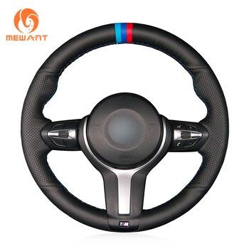 MEWANT Soft Black Genuine Leather Steering Wheel Cover for BMW M Sport F30 F31 F34 F10 F11 F07 X3 F25 F32 F33 F36 X1 F48 X2 F39