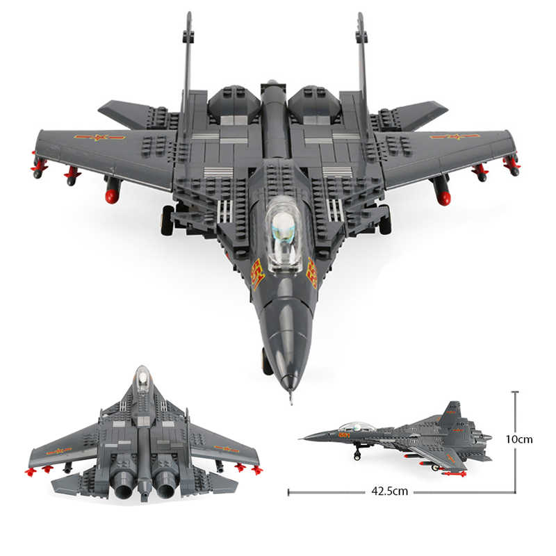 Building Blocks Fit Legoingly 285Pcs Military Series J15 Carrier-based Fighter MOC Airplane Model Toys For Adults Kids Gifts
