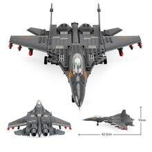 Klocki Fit Legoingly 285Pcs wojskowy serii J15 myśliwiec pokładowy MOC model samolotu zabawki dla dorosłych dzieci prezenty