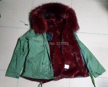 Winter Women Furs Mini Slim Parka Fox Fur Lining & HOOD Mrs Furs Women Girl Winter Coat Factory Wholesale price Free Shipping