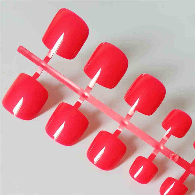 Sexy Red naciśnij na paznokcie stóp kwadratowych błyszczący krótki fałszywe Toe paznokcie dla dziewczyn tipsy akrylowe fałszywe sztuczne bez kleju