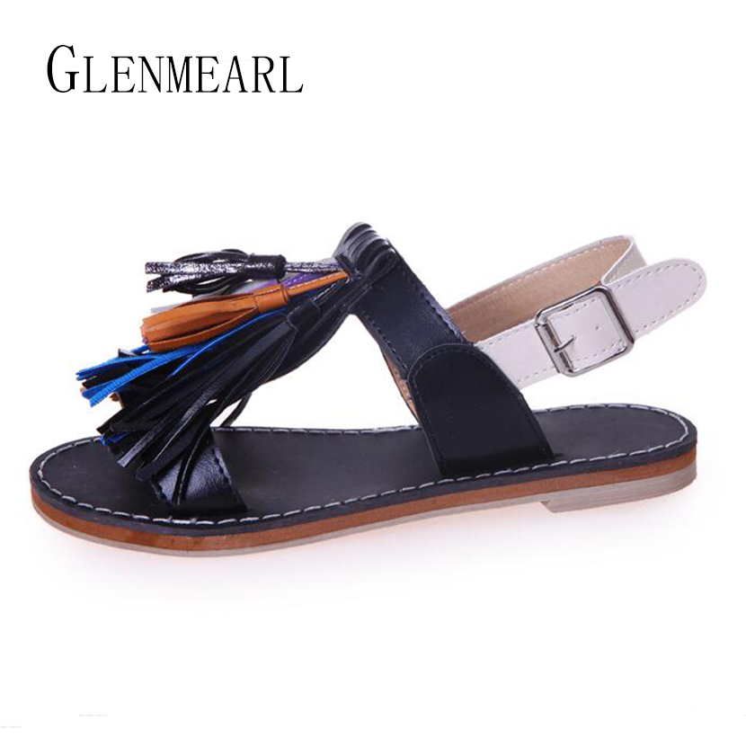 2017 New Summer Women Flats Sandals Casual Retro Leather Fringe Women's Shoes Sandals Large Size Buckle Slippers Heel Shoes 40  new pompom wild thing fringe suede sandals women summer wlegance