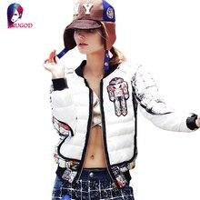 Warm Winter Jacket Women Coat Short Embroidery Parka Ultra-light 90% White Duck Down Jacket Female Casual Outwear manteau femme