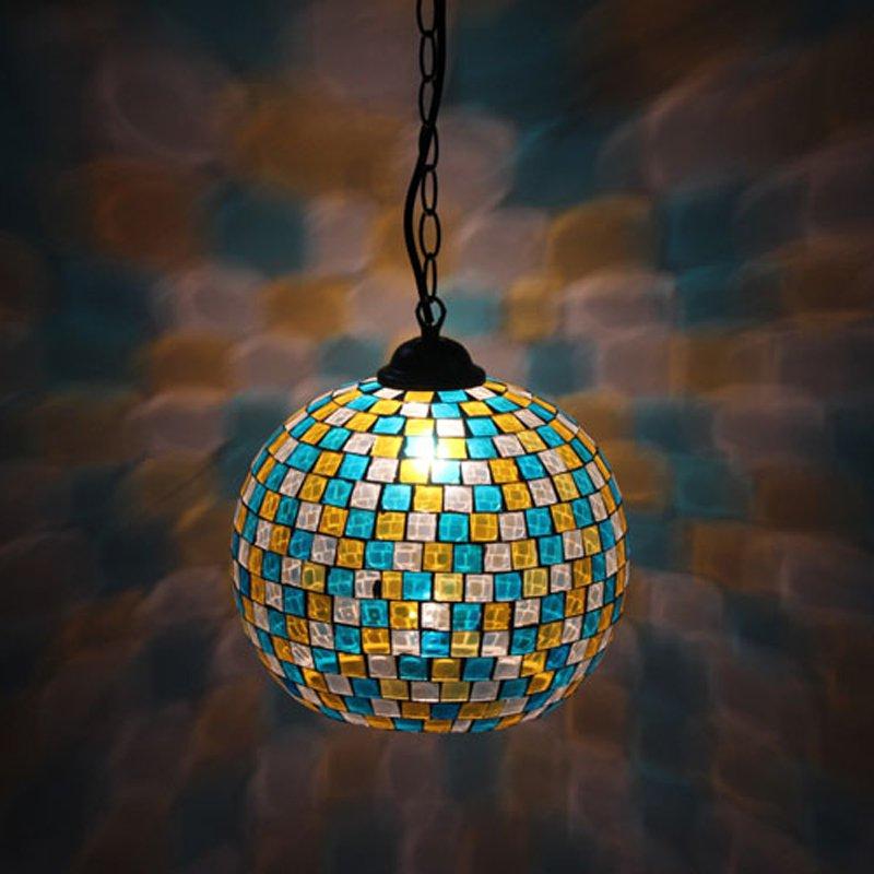 Tradtional 8 Glass Spliced Iron Chain Pendant light Tiffany hallway Pendant Light Living Room Bedroom Pendant Light - 6