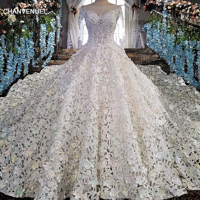 Ball Gown Long Sleeve Beaded Crystal Applique Watteau: LS00152 Luxury Wedding Dress For Bridal Beaded Ball Gown
