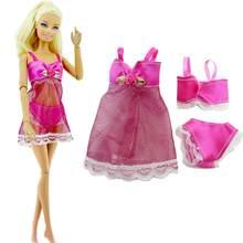 5f7bf3faea725 1 ensemble pyjama Rose Lingerie Sexy soutien-gorge sous-vêtements pour  poupée Barbie accessoires chambre enfant bébé fille enfan.