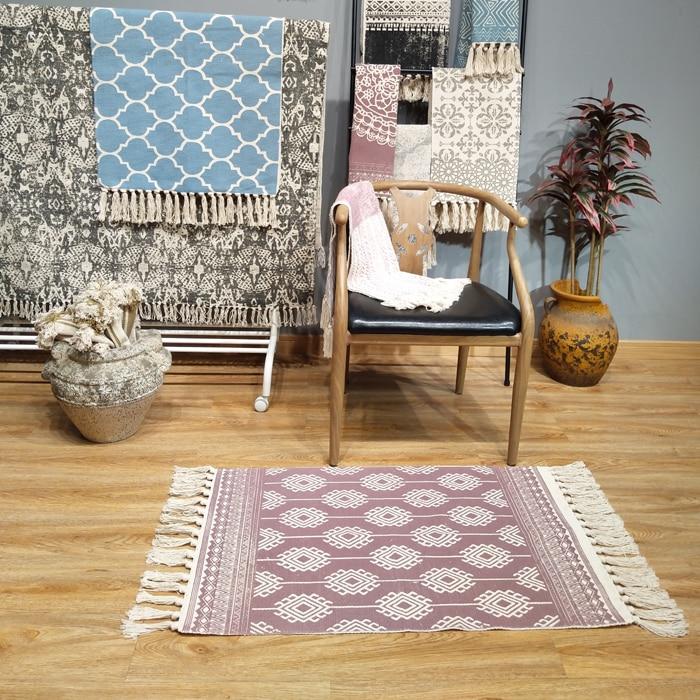 Kilim Turkish 100 Cotton Living Room Carpet Geometric Indian Rug Striped Modern Mat