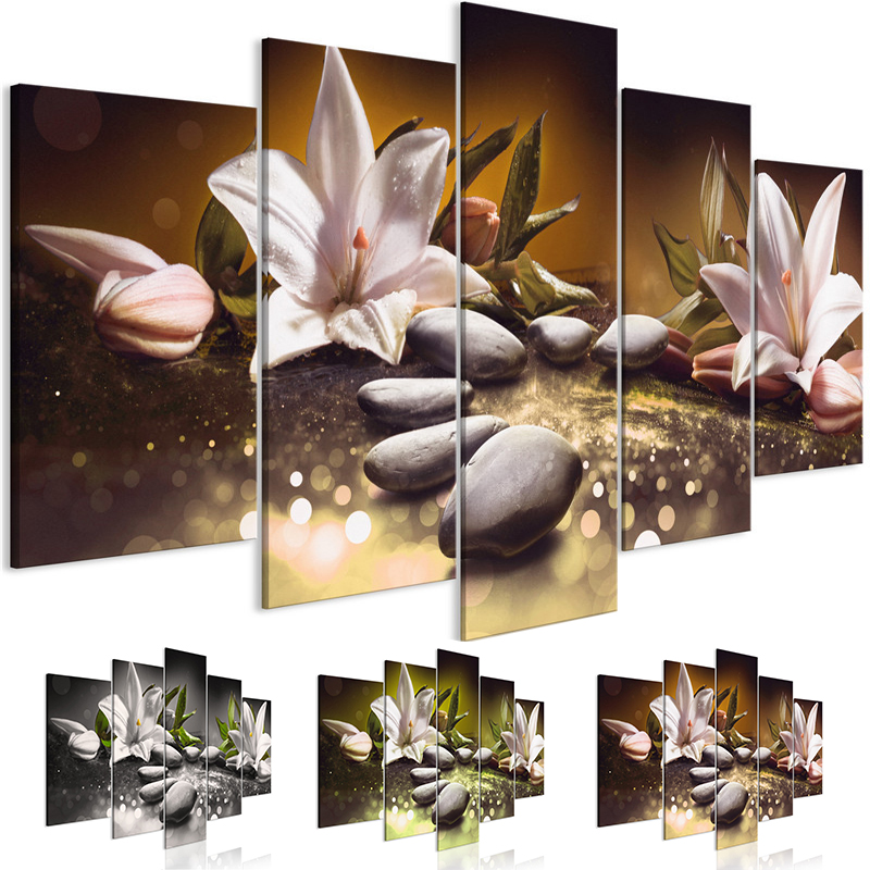 Lilies Stones Wall Art 5 Panel Posters and Prints Flower Canvas Art Modular Pictures Women for Living Room Decorative Painting