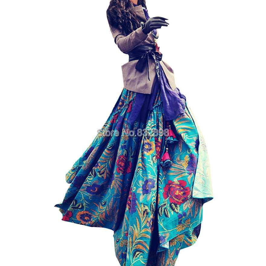 İsti Satış Moda Çap Uzun Kətan Etek Uzun Ruffled - Qadın geyimi - Fotoqrafiya 2