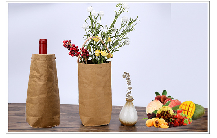 Washable Kraft Paper Single Wine Packaging Box Environmentally Friendly Tote Bag Store Red Wine Bottles Fruits Flowers in Gift Bags Wrapping Supplies from Home Garden